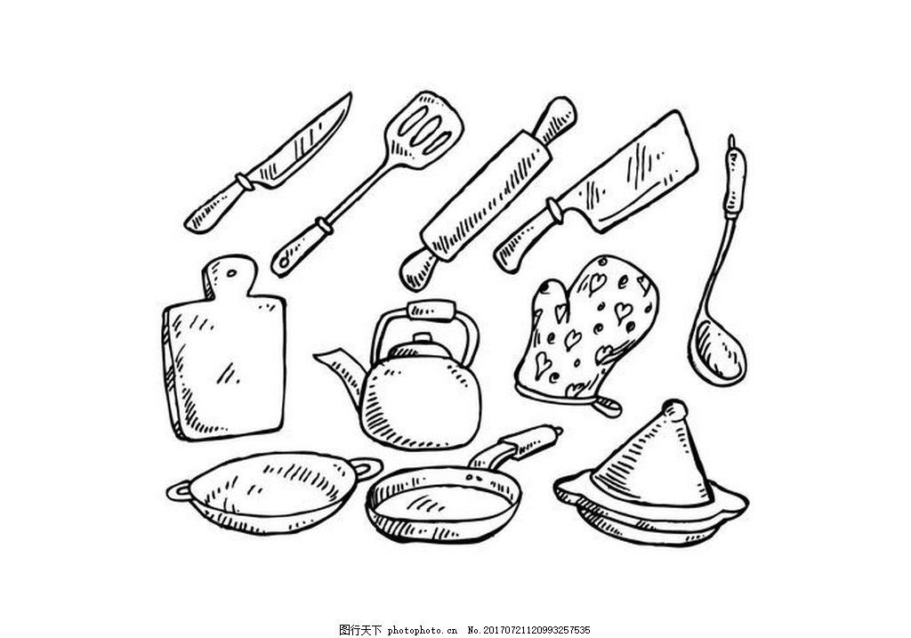 免费的烹饪工具手绘矢量