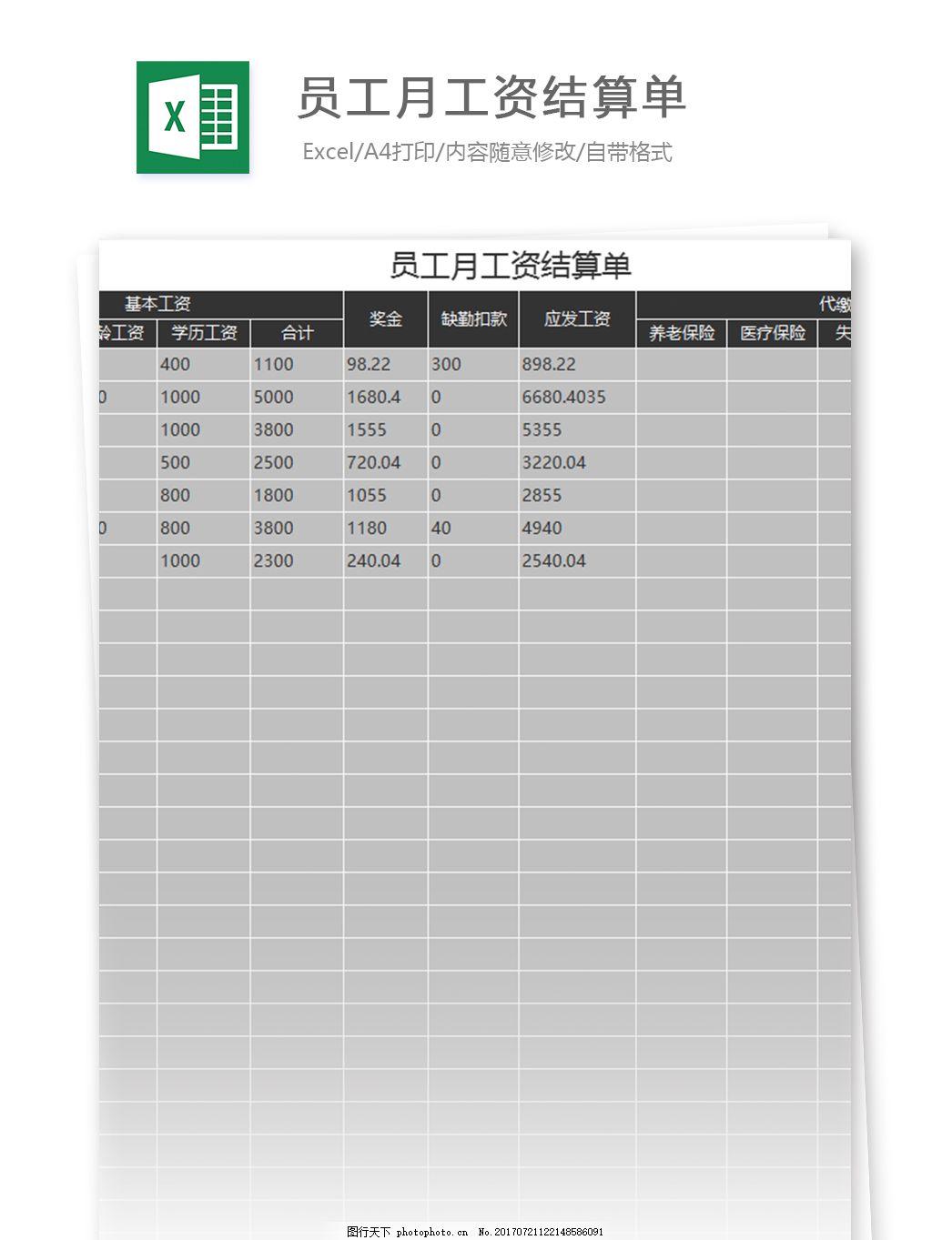 工厂员工工资单表格_员工工资表格图片展示_员工工资表格相关图片下载