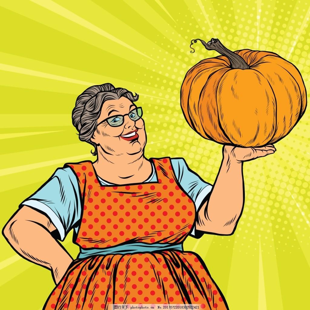 外婆欧美卡通海报漫画风格人物矢量素材 拿着 南瓜 风景 插画 手绘