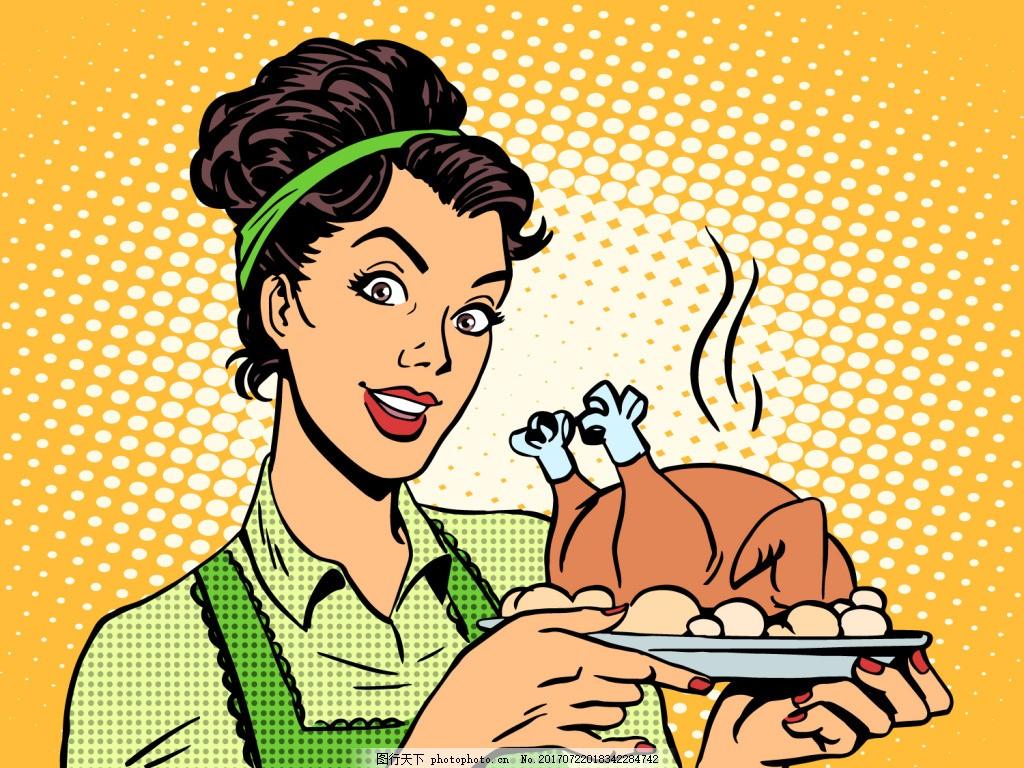 做美食漫画风格人物矢量素材 烤全鸡 漫画 卡通 人物 风景 插画 手绘