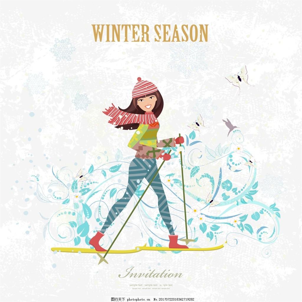 穿着红色衣服的女生旅行插画矢量设计素材_动漫人物