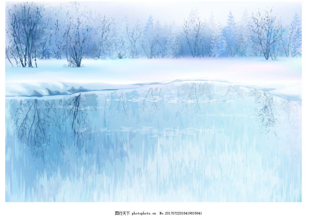 冬季森林风景插画 冬天 湖面 树林 大雪 下雪 风景 插画 水面
