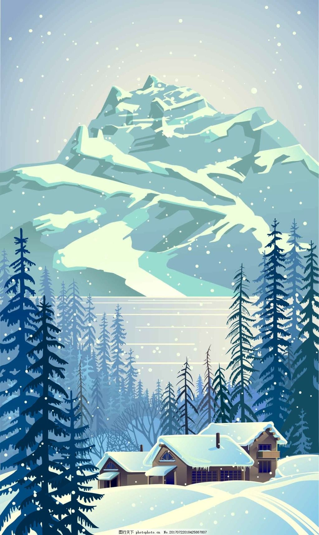 雪山下的房子插画 冬天 风景 松树 下雪 自然 雪花