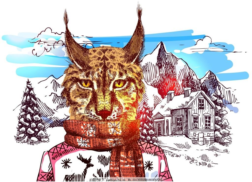 豹猫雪山冬季动物拟人装饰画矢量 蓝天 白云 房屋 水彩 手绘 卡通