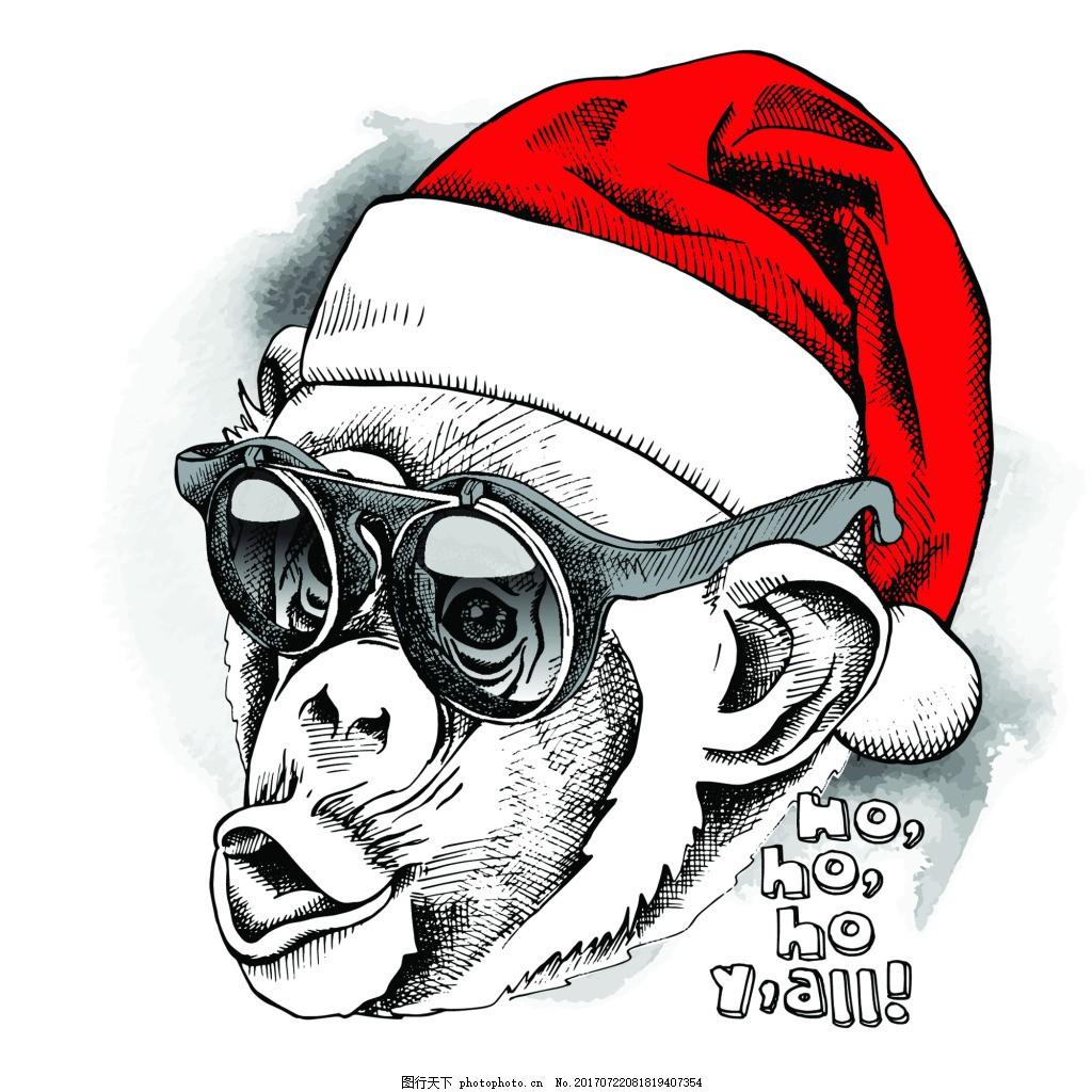 手绘猴子可爱动物圣诞节海报矢量