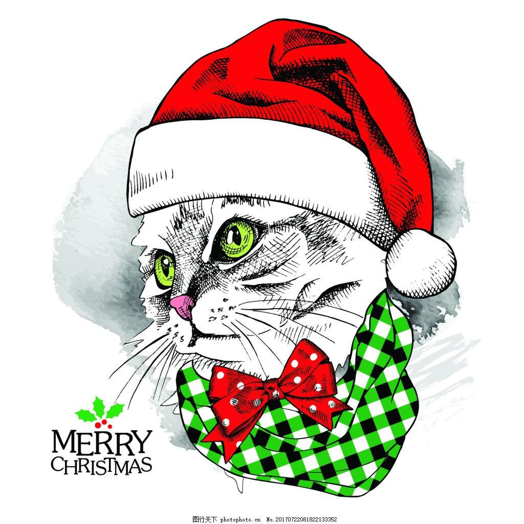 绿色 眼睛 卡通 动物 圣诞节卡片 插画 矢量 铅笔画 黑白 红色 眼镜