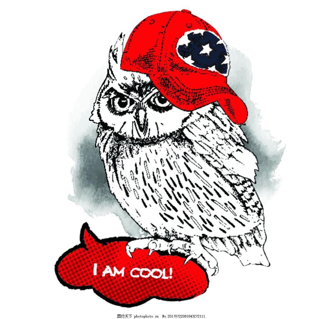 带着红色帽子 手绘 卡通 动物 圣诞节卡片 插画 矢量 铅笔画 黑白