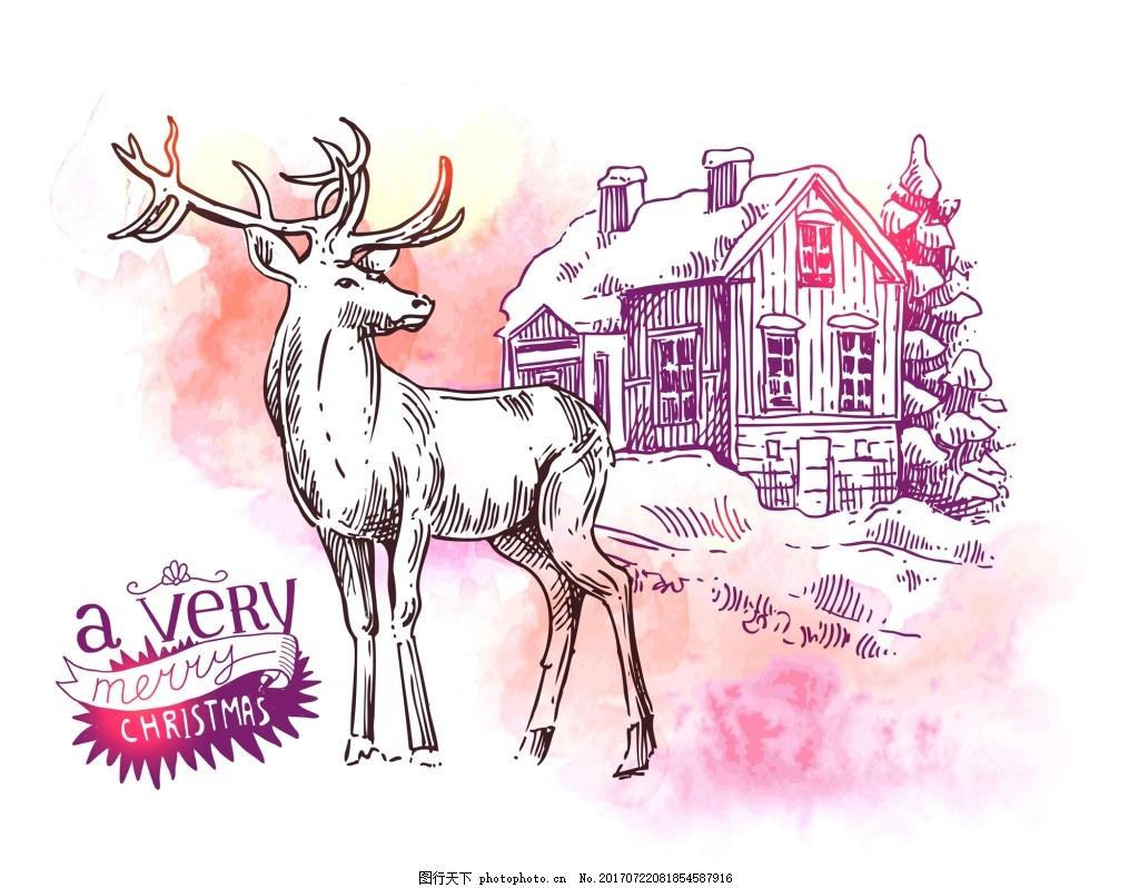 梦幻卡通手绘麋鹿动物拟人装饰画矢量 白色 小鹿 粉色背景 水彩 手绘