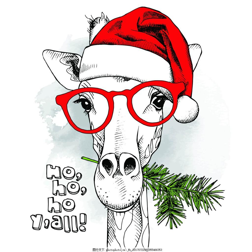 带着眼镜的长颈鹿可爱动物圣诞节海报矢量