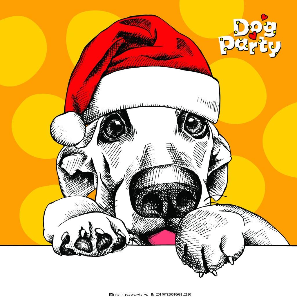 大型狗狗可爱动物圣诞节海报矢量