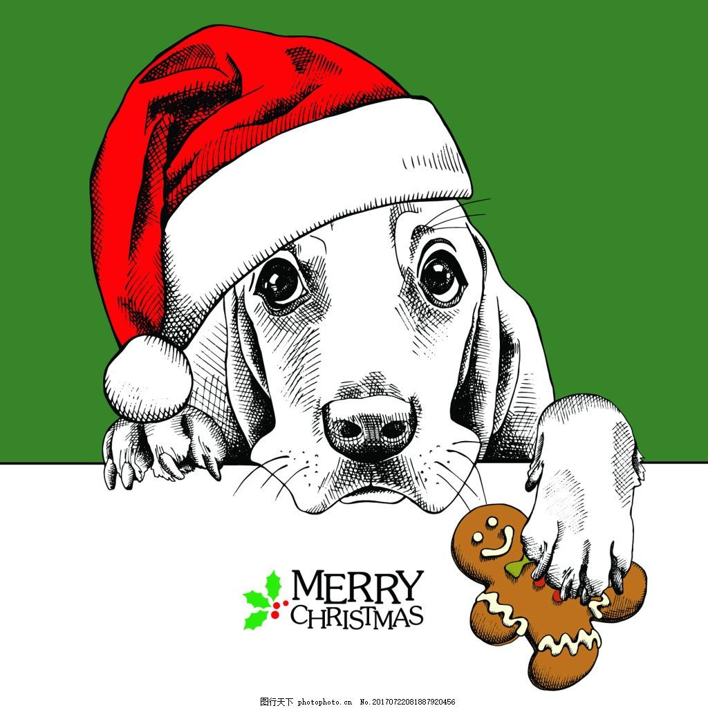 狗狗头像可爱动物圣诞节海报矢量