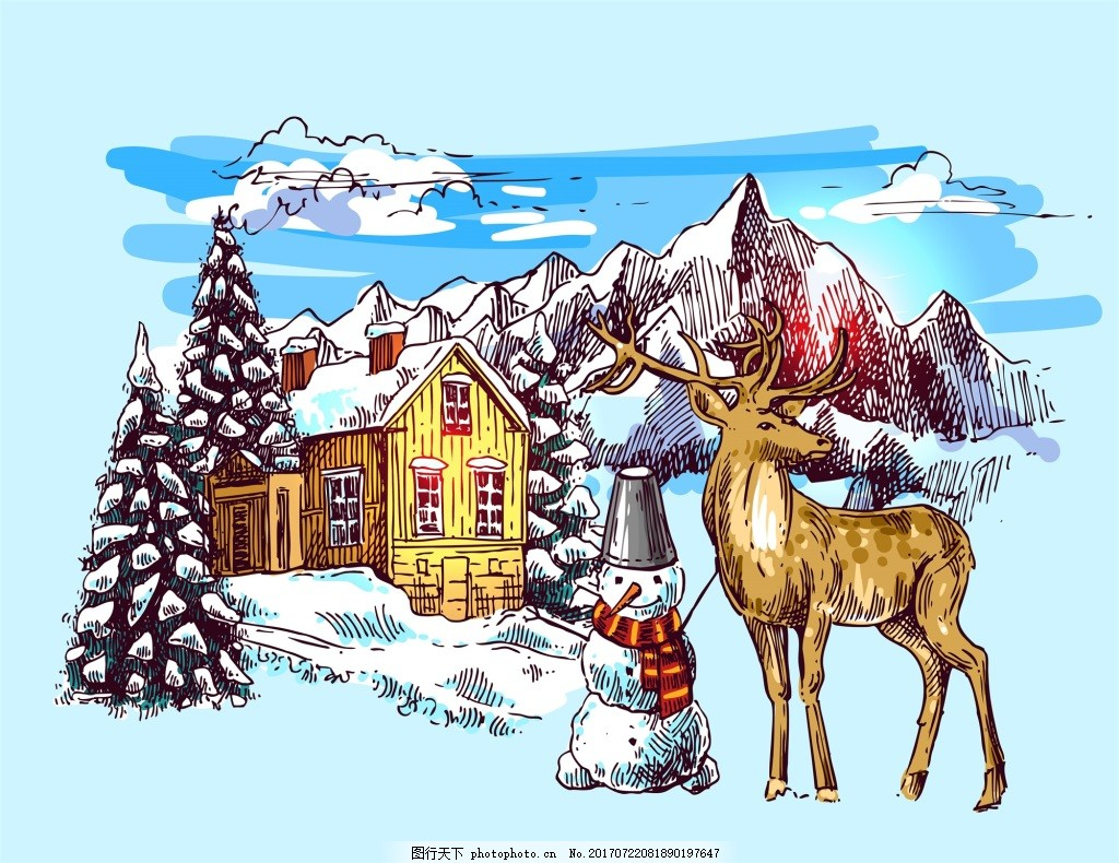 小鹿和雪人雪山冬季动物拟人装饰画矢量 蓝天 白云 雪地 松鼠 房屋