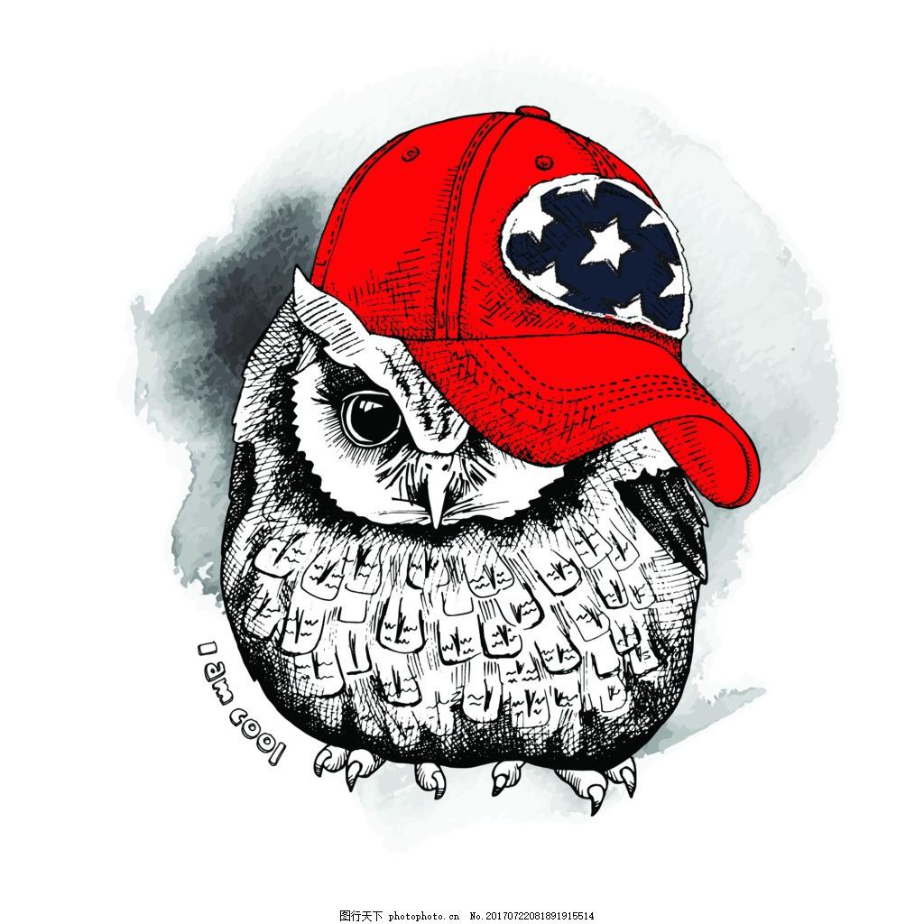 猫头鹰可爱动物圣诞节海报矢量