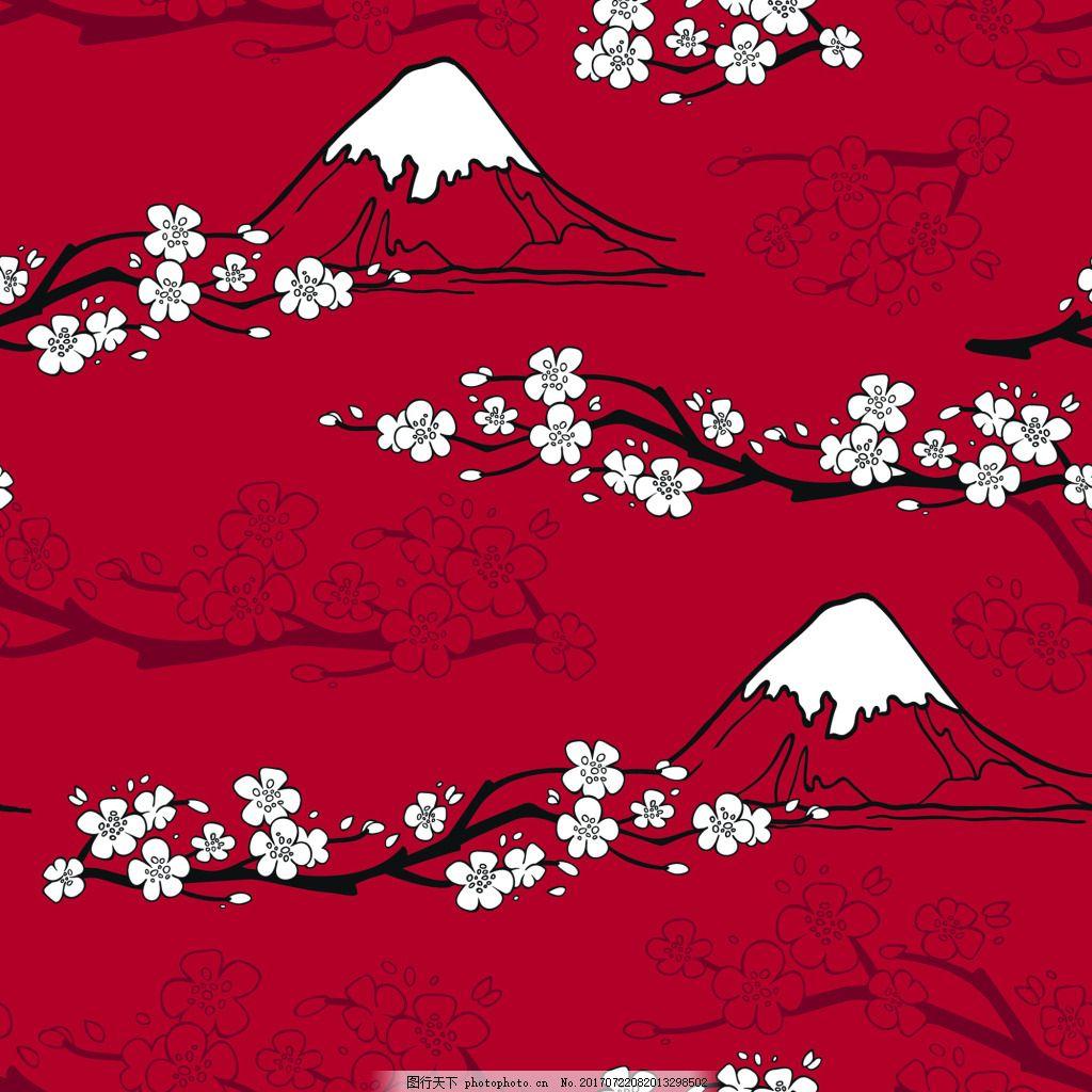 日式红色富士山和风矢量背景