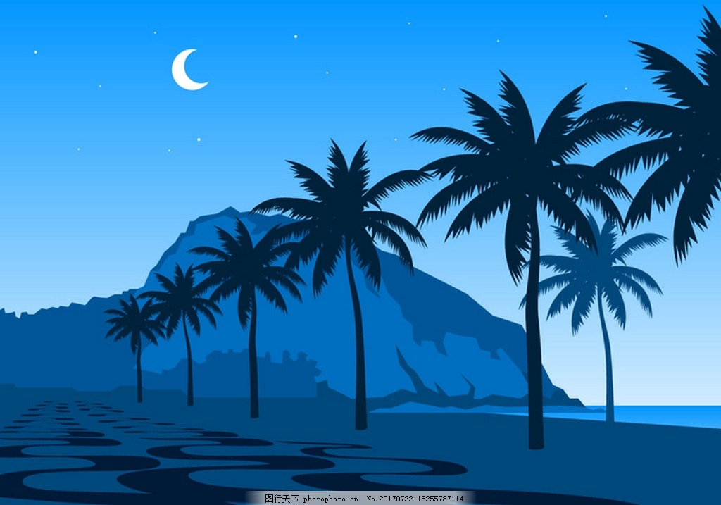 夏天 夜晚 海边 风景 月亮 夜景 海边夜景 夏天沙滩夜景 矢量素材