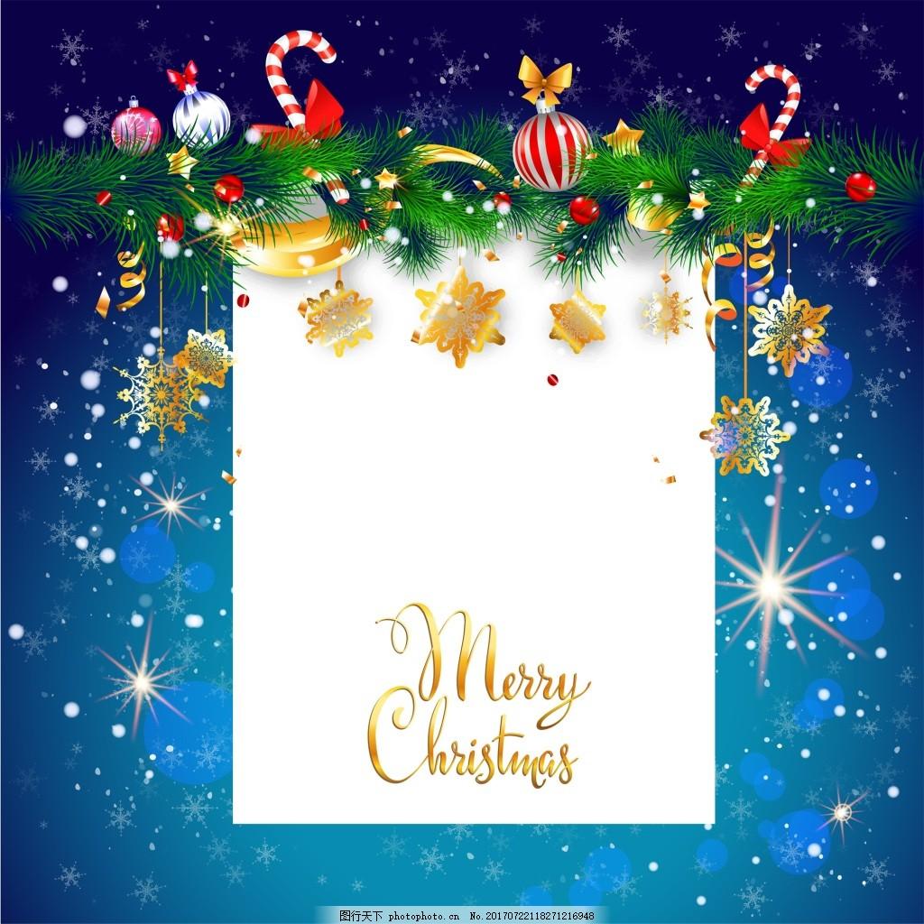 蓝色闪光梦幻主题圣诞海报矢量设计 糖果 金色 铃铛 圣诞装饰 下雪