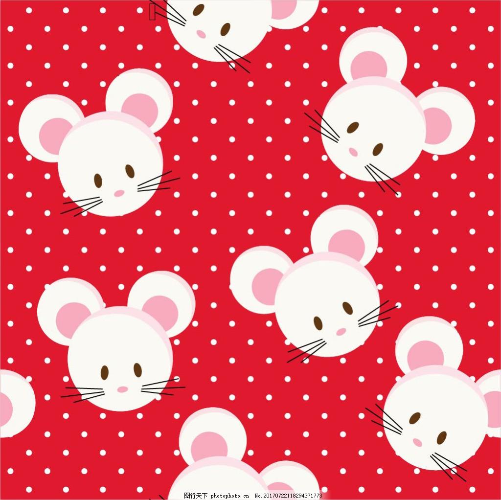 小老鼠红色背景素材