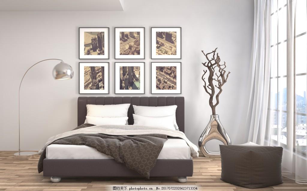室内装饰 装饰客厅 室内效果图 精装小户型 衣橱 床 台灯 吊灯 窗户