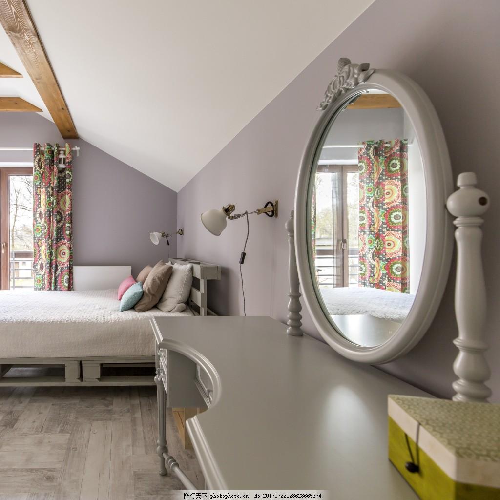 欧式简约卧室效果图 室内 现代 白色 素雅 简约家装卧室效果图