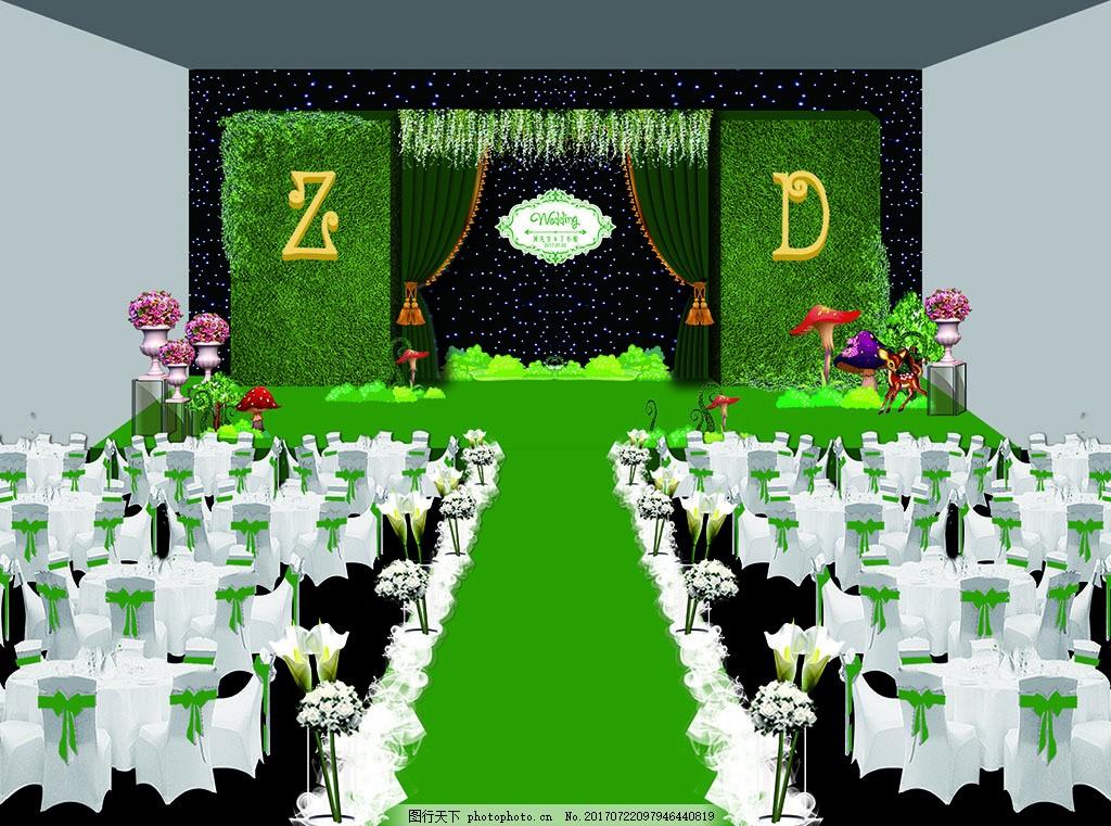 婚礼森系宴会厅舞台背景效果图 婚庆 草皮 欧式路引花 马蹄莲 椅套