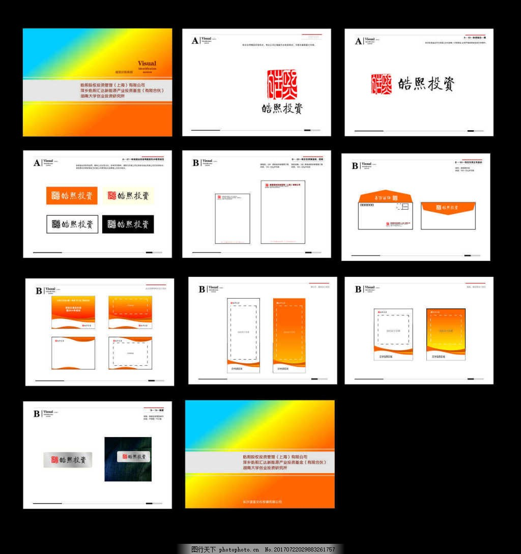 金融行业投资行业基金VI部分 易拉宝 宣传单 宣传系统格式 信封