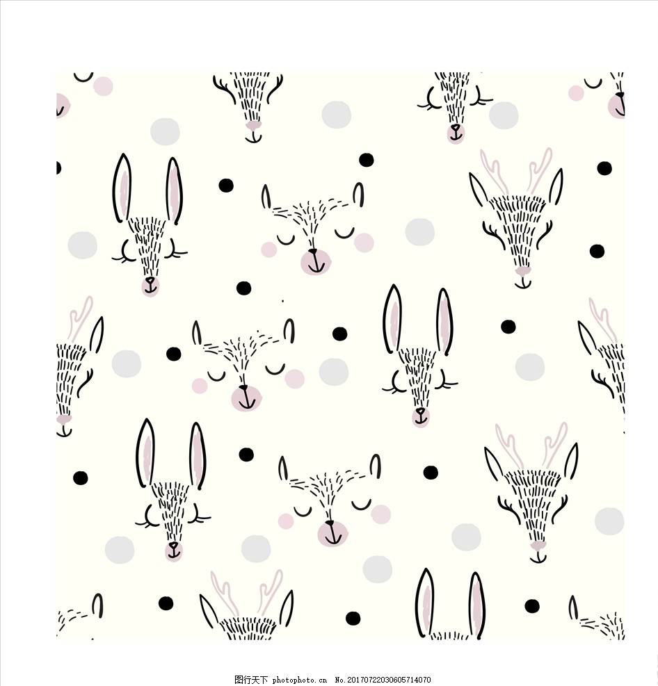 抽象卡通动物四方连续底纹 男装设计 女装设计 箱包印花 男装印花