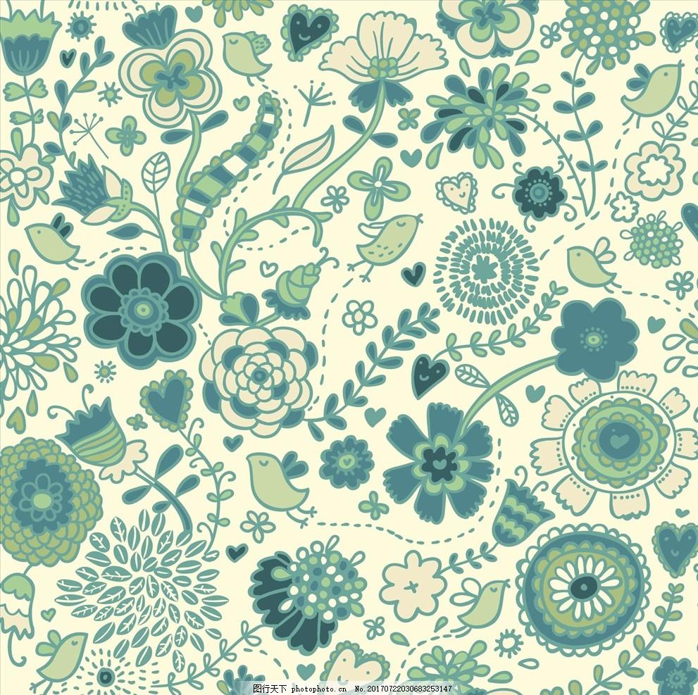 植物花卉花鸟四方连续底纹 服装设计 男装设计 女装设计 箱包印花