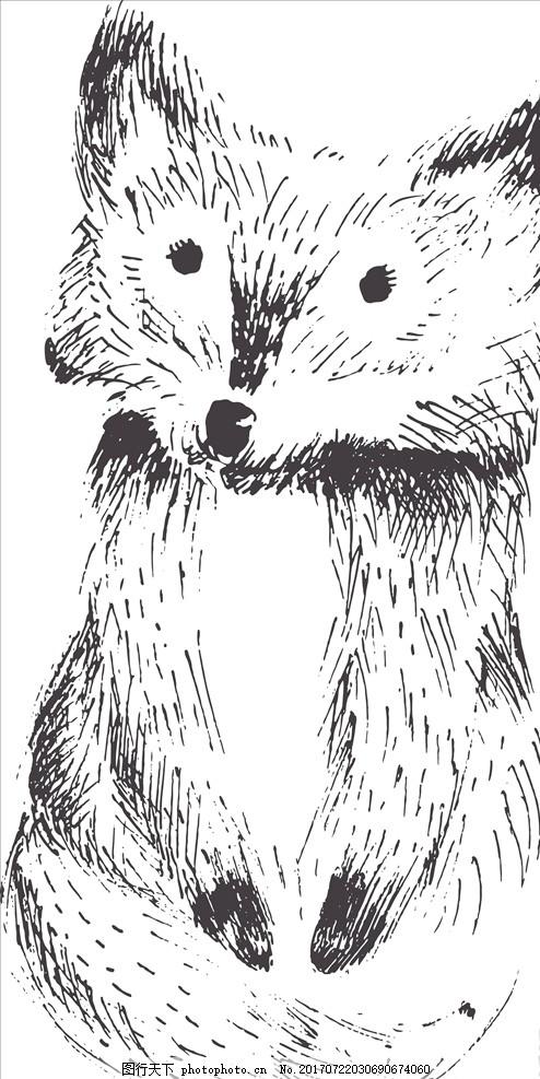 线描卡通狐狸矢量图下载