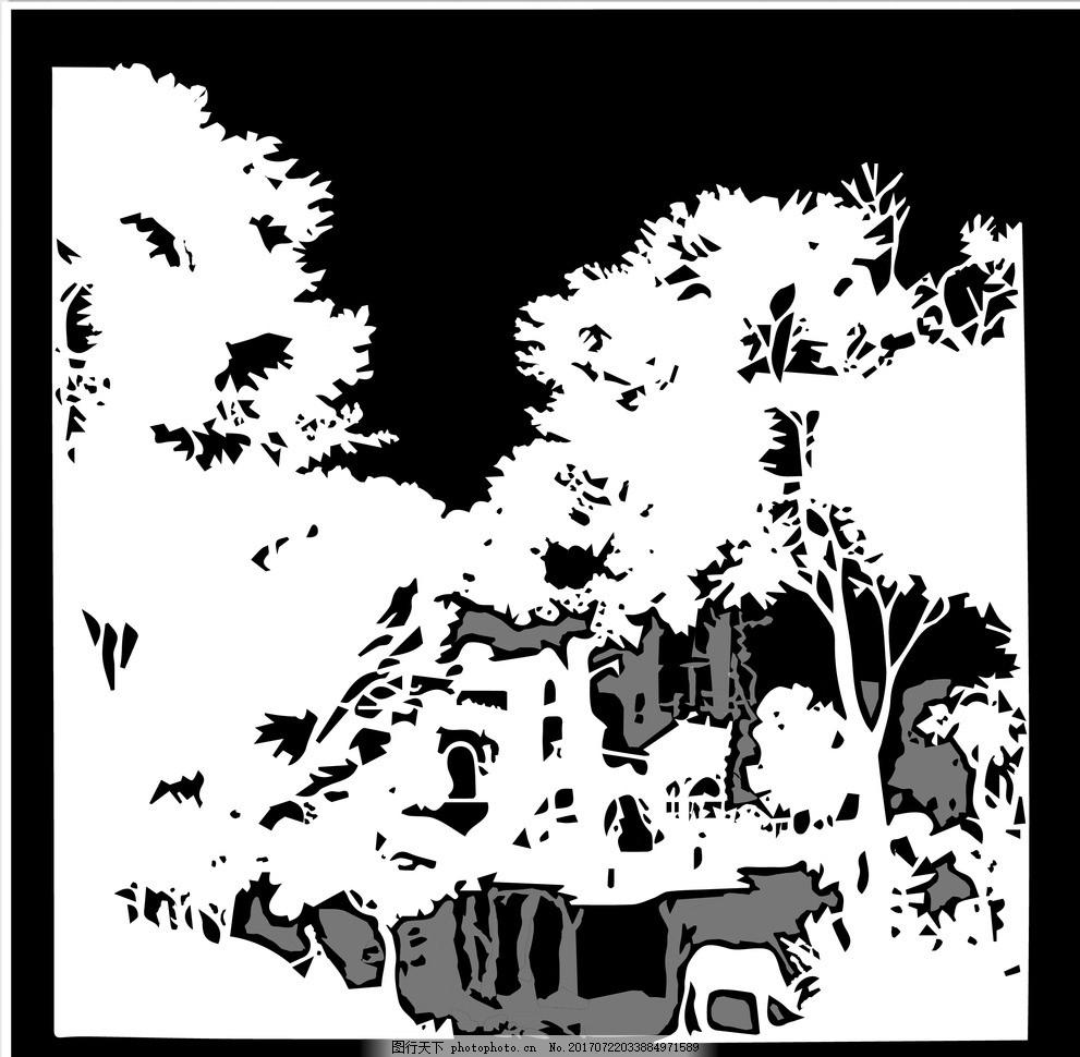 树的黑白画ps 剪纸素材 刻纸素材 夜晚乡村 小树林 图片素材