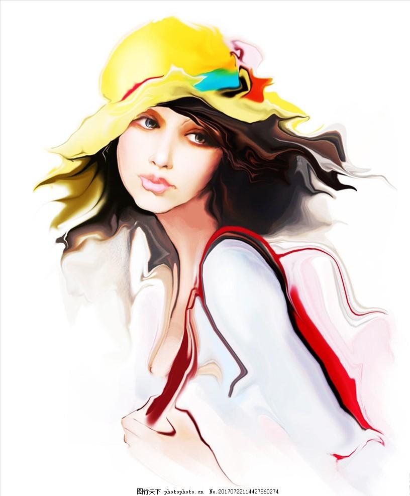 环游美女 背包美女 旅游女孩 手绘美女 绘画美女 戴帽女孩 手绘美女