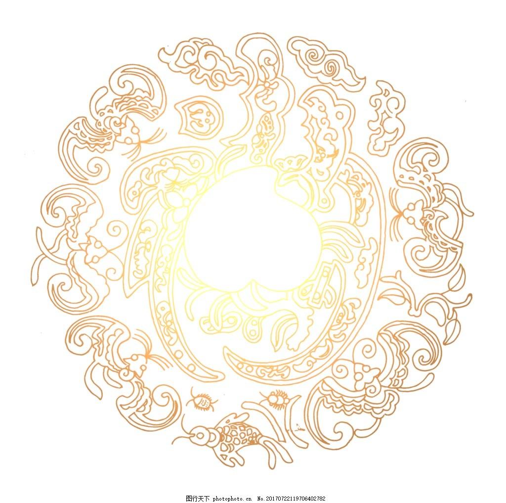 复古花纹圆圈元素 手绘 金色花纹 线条 圆圈 祥云 png 免抠 素材 png