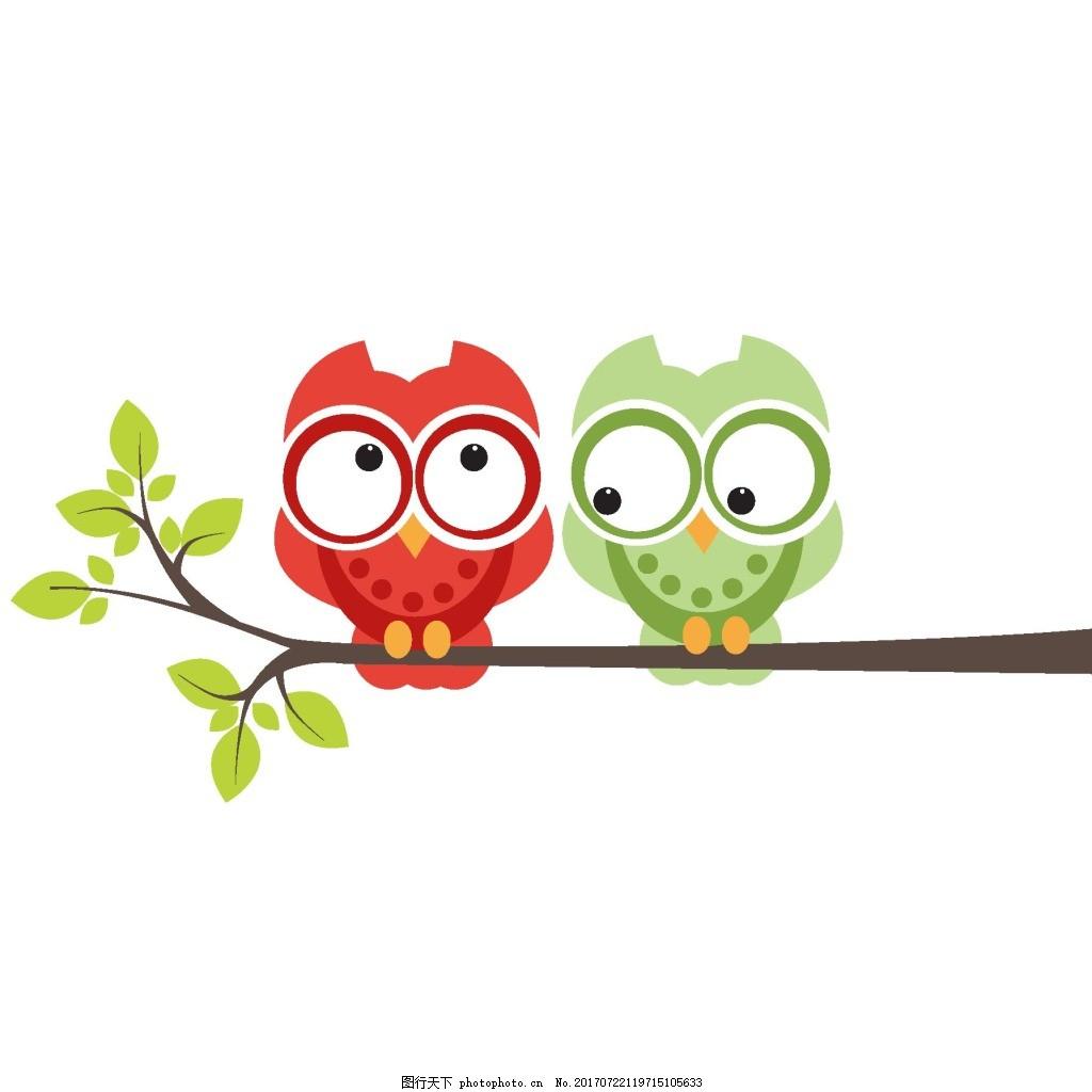 手绘卡通小鸟元素 手绘 绿叶 树枝 卡通 红绿小鸟 png 免抠 素材 png
