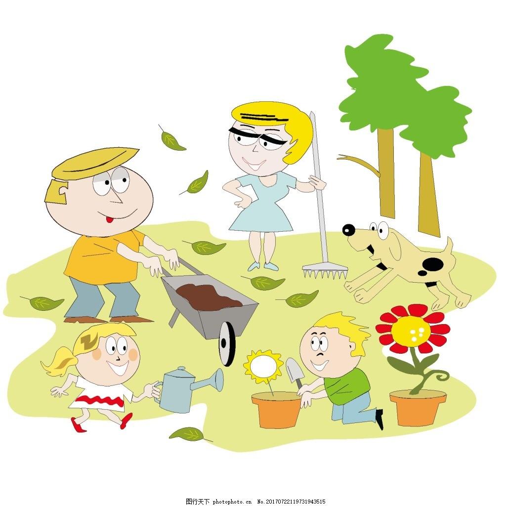 手绘儿童种树元素 卡通 植树节 种花 免抠