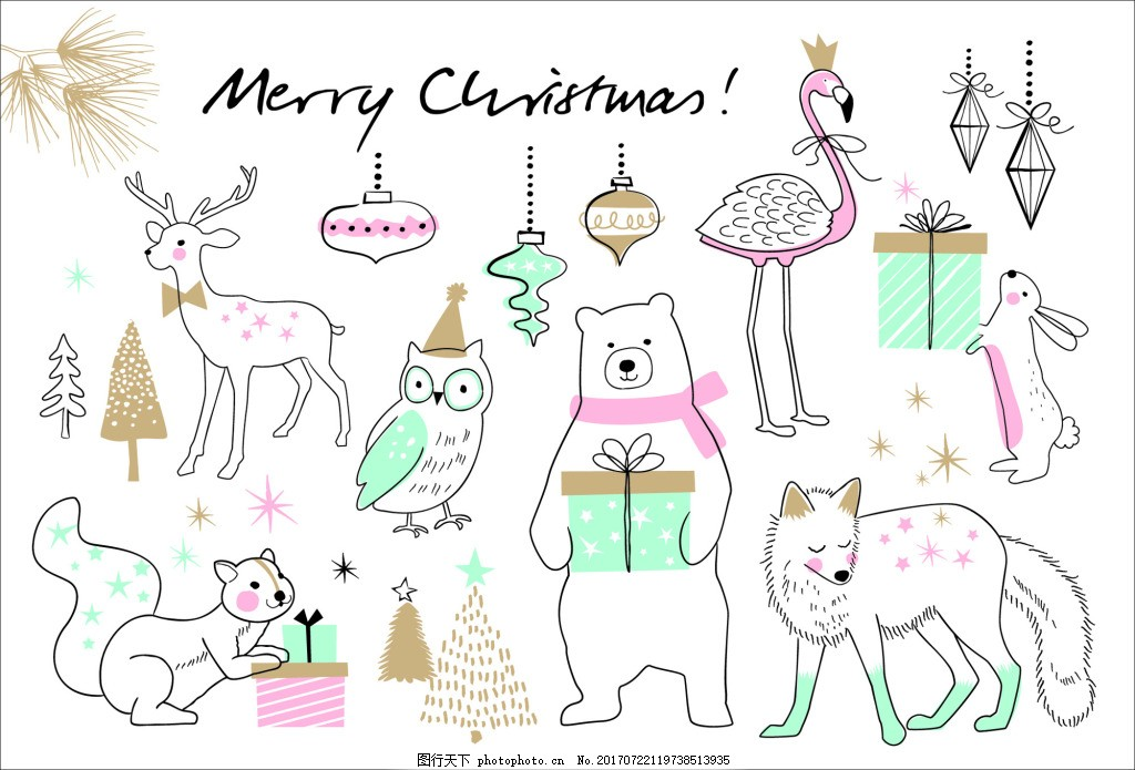 可爱卡通动物线稿圣诞节创意卡片矢量 松树 白熊 圣诞节装饰 狐狸