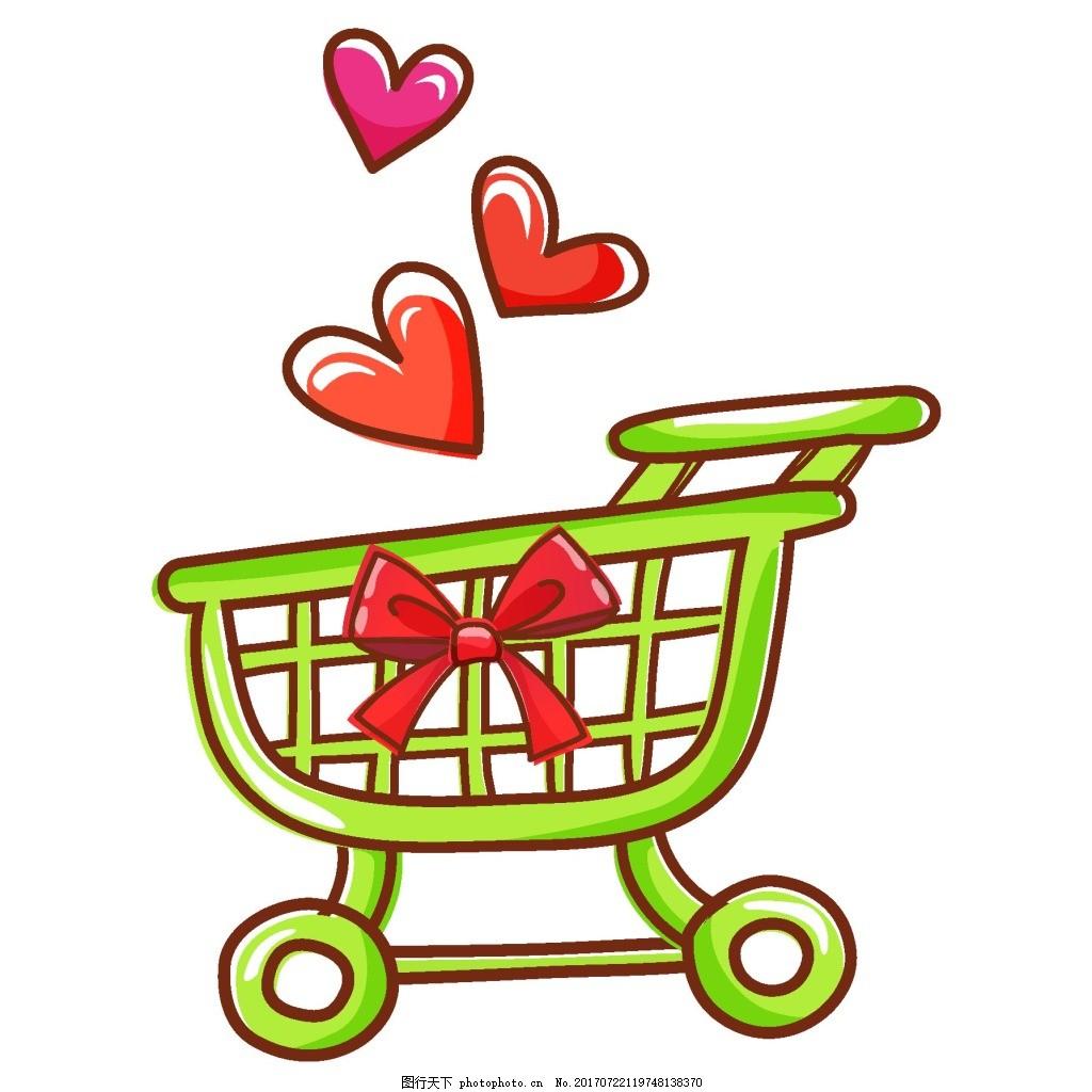 手绘绿色购物车元素 手绘 水彩 红心 蝴蝶结 绿色购物车 png 逛超市