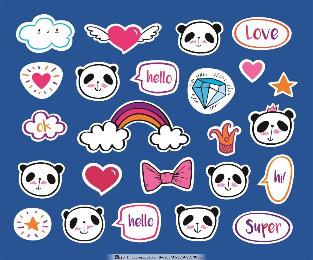 动物贴纸可爱卡通熊猫装饰素材图片