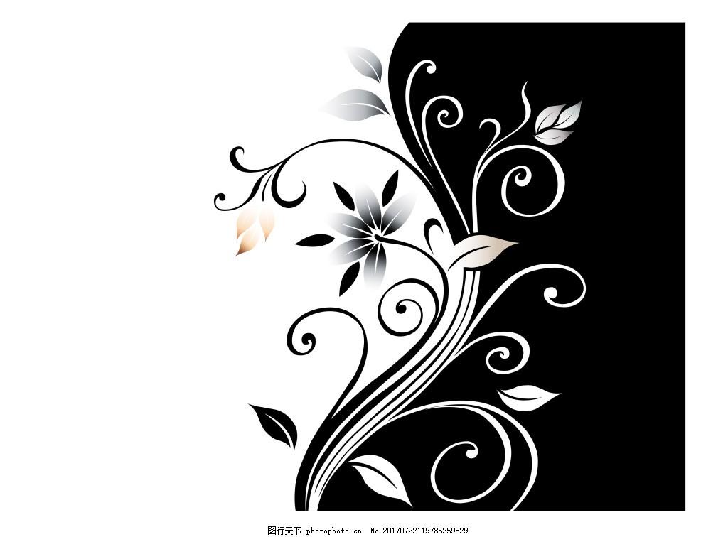 彩绘花黑白花纹 彩绘花 黑白 花纹 装饰元素 ppt封面素材 ppt封面素材
