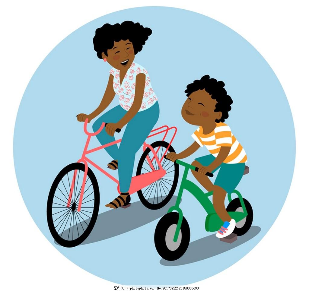 妈妈儿童骑自行车矢量元素 单车 骑行 自行车 妈妈 孩子 儿童 矢量