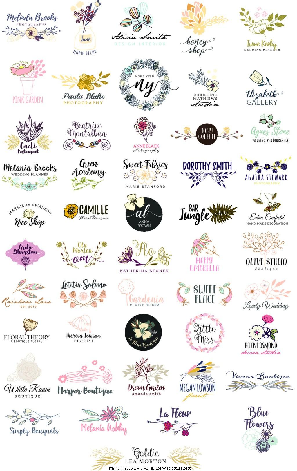 50个花朵花卉Logo矢量素材合集 花朵设计 艺术字 英文 彩色