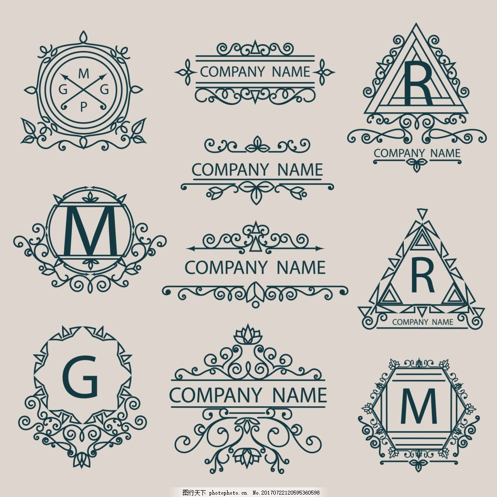 字母 圆形 简约 三角形 设计 黑色 线条 欧式 花纹 复古 图标 矢量