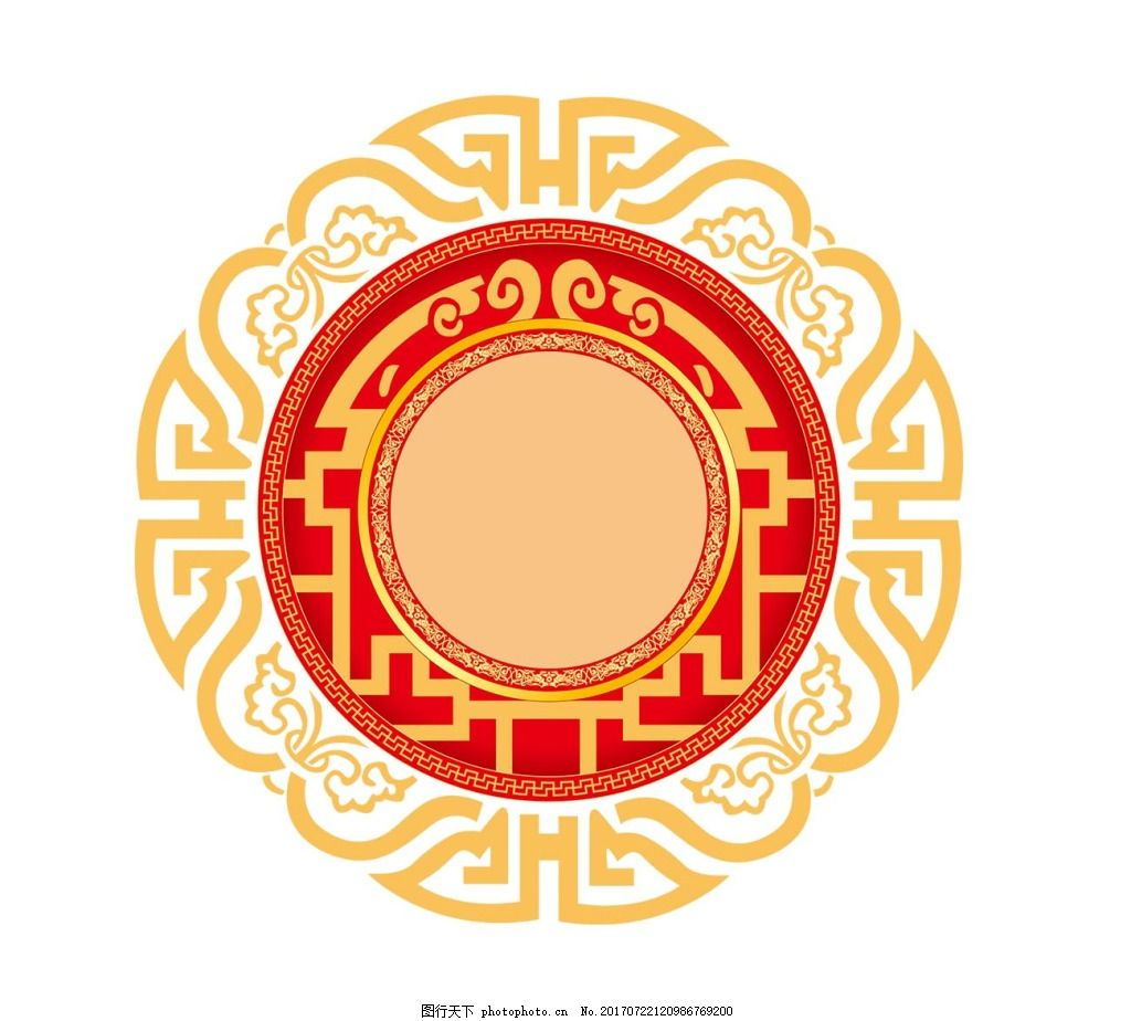 手绘中国风花纹元素 线条 花纹边框 圆形边框 免抠