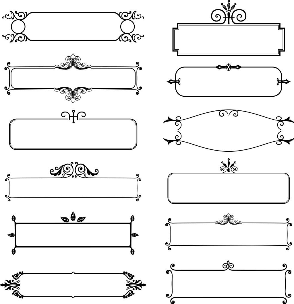 手绘线条几何元素 手绘 黑色线条 几何 花纹 边框 png 免抠 素材 png