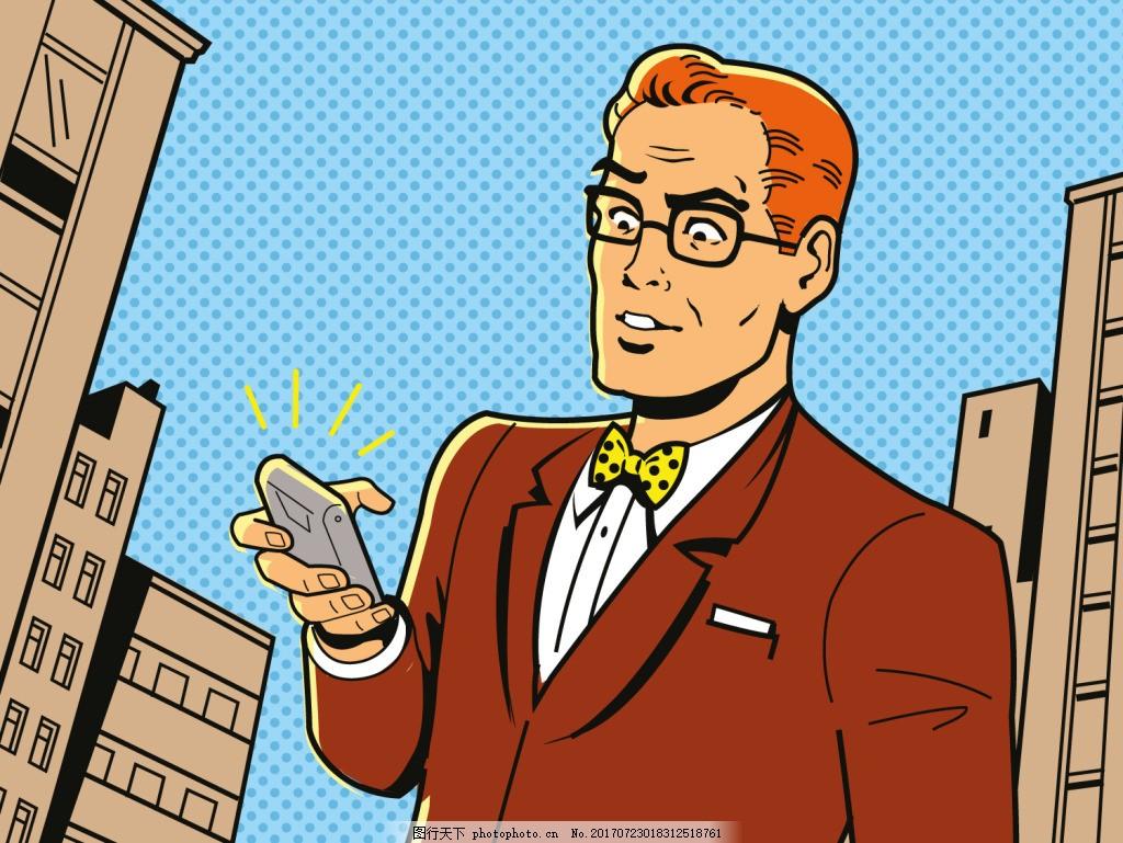打电话欧美卡通海报漫画风格人物矢量素材