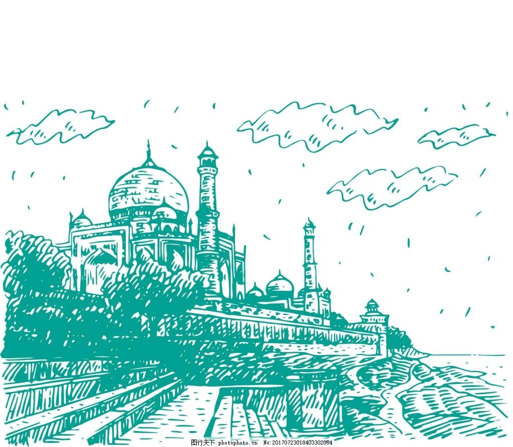 手绘风景建筑插画 泰国 风景 手绘 建筑 泰姬陵 速写 插画 云朵