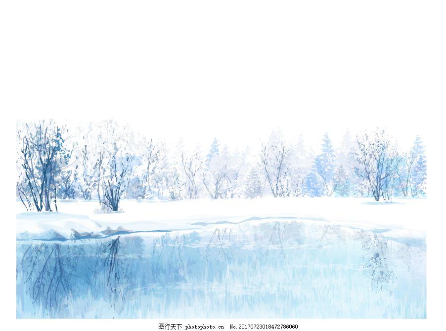 冬天漫天大雪风情插画 下雪 雪花 树林 风景 湖边