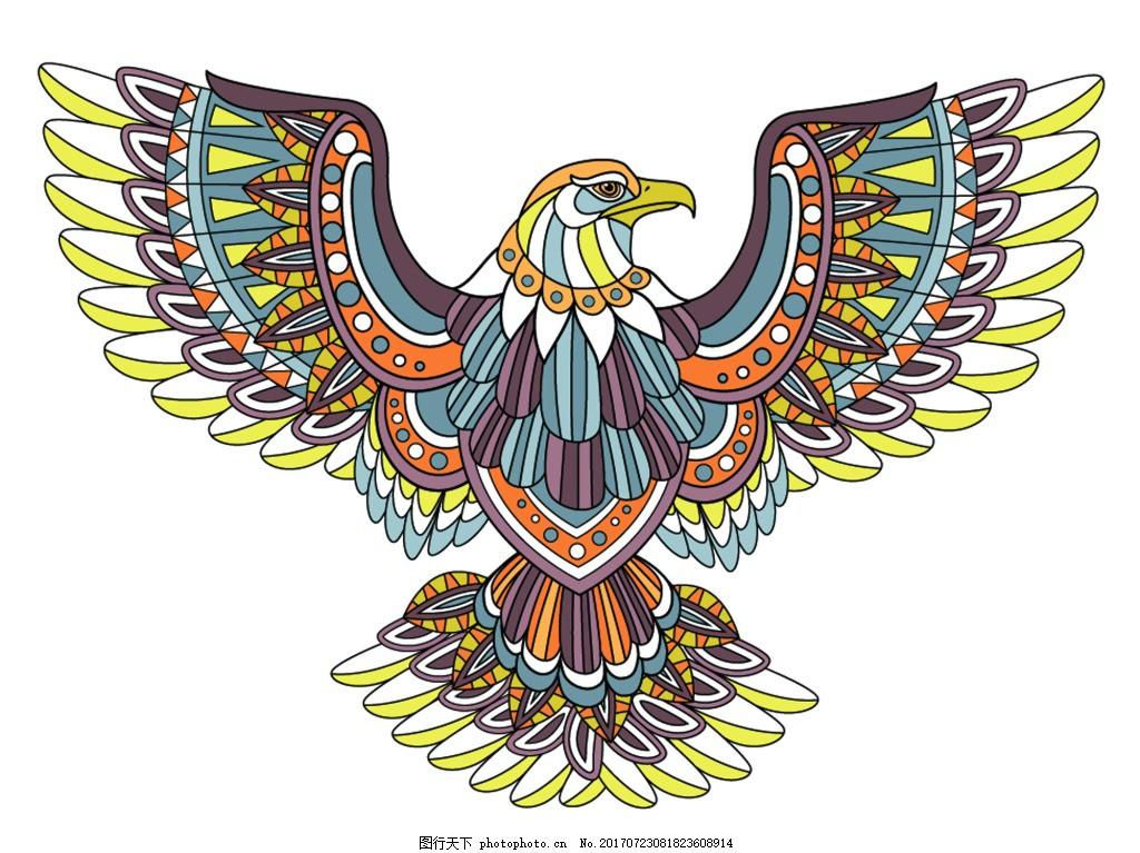 精致老鹰创意动物头像矢量素材 卡通 羽毛 复古 欧式 鸟类 纹身