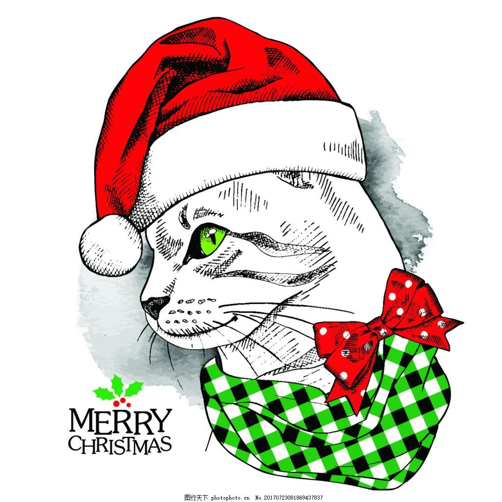 猫咪 卡通 动物 圣诞节卡片 插画 矢量 铅笔画 黑白 红色 眼镜 圆圈