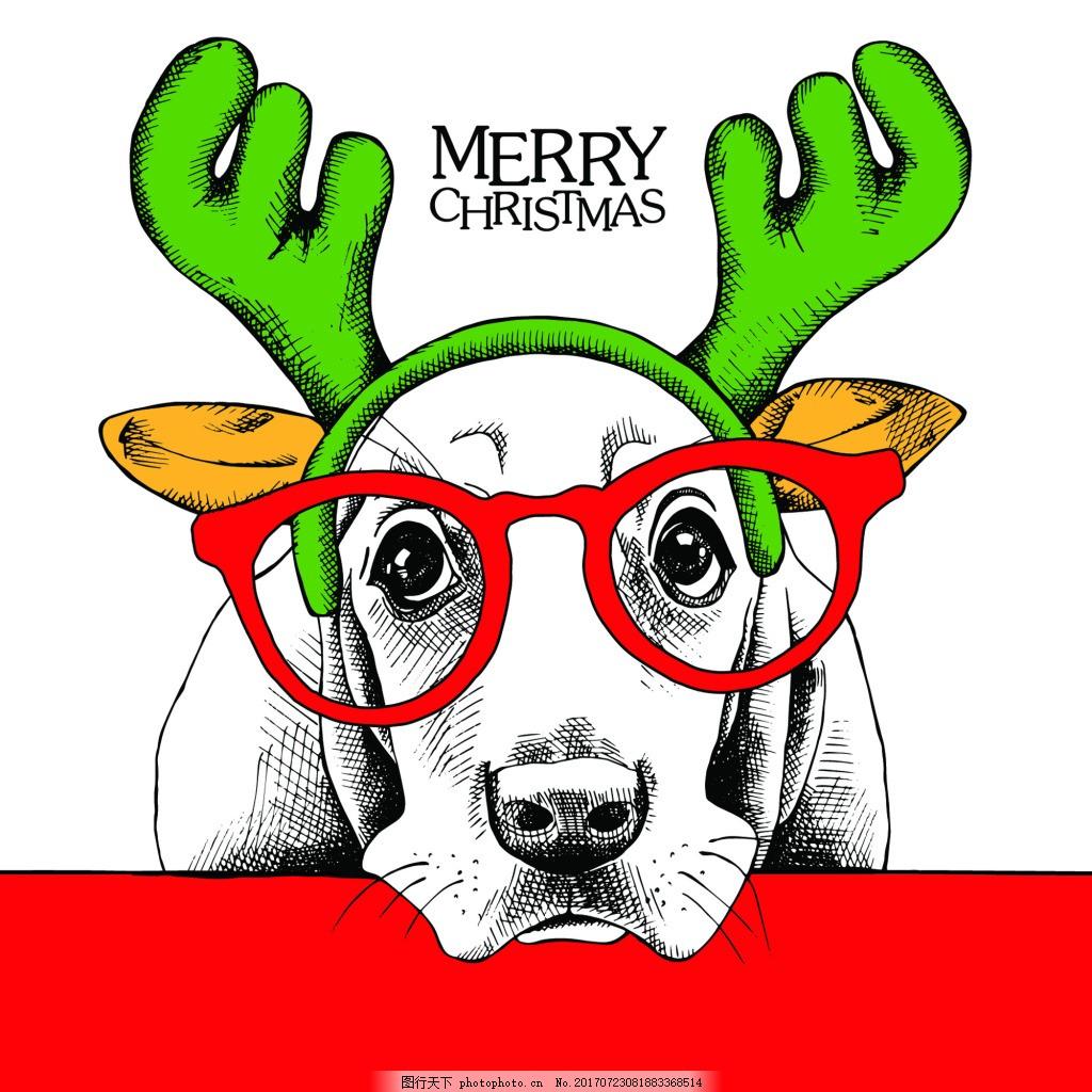 圣诞动物可爱动物圣诞节海报矢量