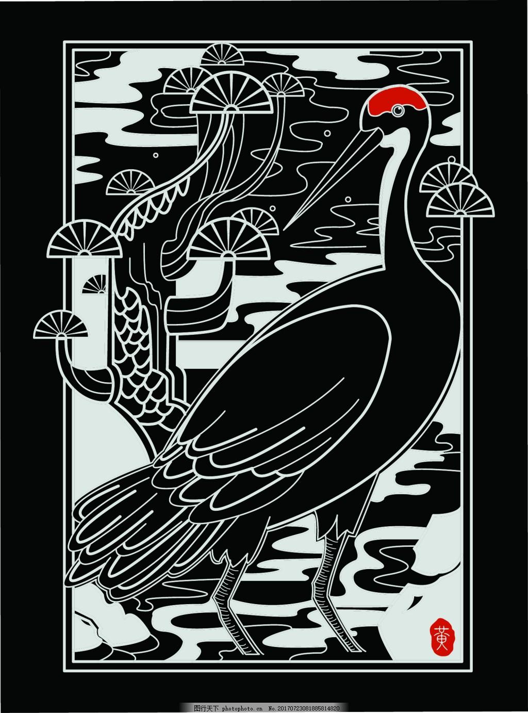 鹤寿线描矢量图 仙鹤 长寿 黑底 鹤顶红 松树 吉祥 鸟 祥云