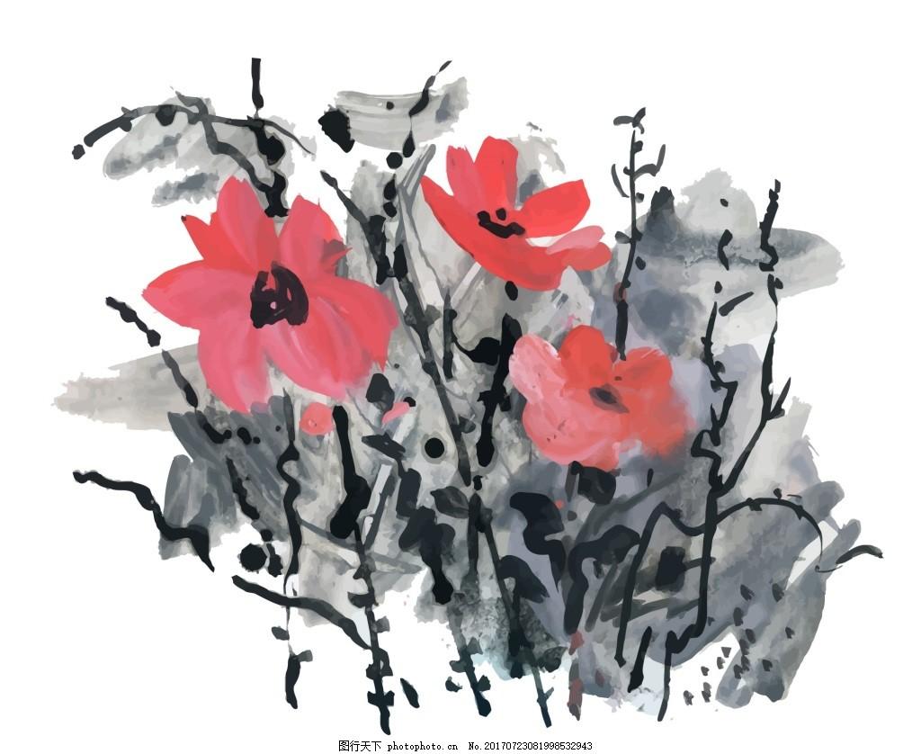 中国风水墨花朵水彩手绘矢量文件